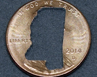 Lucky penny with Mississippi cut out