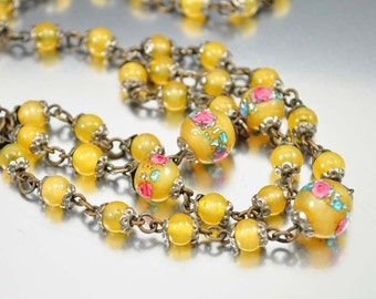 Czech Glass Art Deco Necklace, Venetian Wedding Cake Glass Beads, Pink Roses, Vintage 1920s Art Deco Jewelry Antique Jewelry Yellow