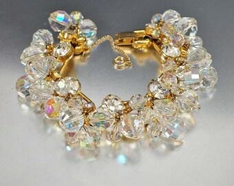 Vintage Juliana Bracelet, Delizza and Elster Jewelry, Aurora Borealis D and E Bracelet, Juliana Jewelry, Rhinestone Bracelet Jewelry