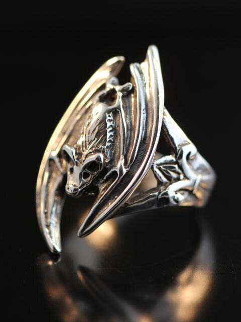 bat ring bat wing silver bat ring bat jewelry silver