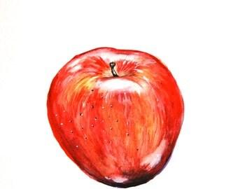 "Watercolor Painting, Original Art, Still Life, Apple, 9""x12"""