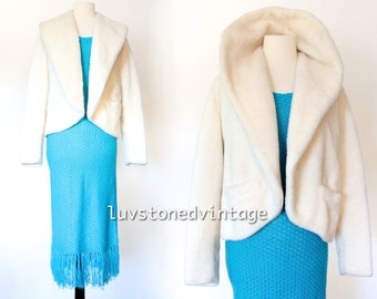 70s Ivory Faux Fur Boho Hippie Glam Bridal Wedding Blazer Jacket Coat ILGWU . SM . hanger . 934.1.14.15