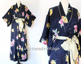 Christian Dior Lingerie Kimono Dressing Bath Bridal Floral Jacquard Maxi Bridal Robe with Belt . D042 . SML . 943.1.20.15