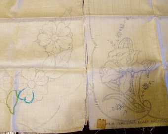 2 Vintage Linen Dresser Scarves or Pillow Tops, 1940's, Jonquils, Asters, Ready to Embroider, original tag
