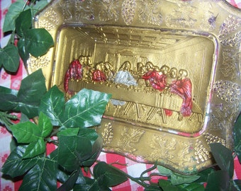 """Vintage 1920's Goofus Glass Tray, The Last Supper, 11"""" x 7"""", Religious"""