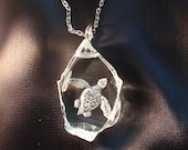 Sea Turtle, Necklace, Hand Carved Glass, Etched Glass, Nautical, Ocean, Florida,