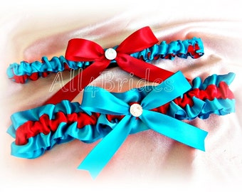 Red and turquoise wedding garters, satin garters, bridal keepsake and toss garter set