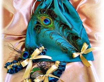 Peacock weddings Teal and Gold bridal garter set and drawstring bag, wedding dollar dance bag and garters