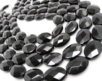 Onyx Beads, 13mm x 18mm, Black Onyx, Luxe AAA, Faceted Oval, Onyx Beads, Black Gemstone, Weddings, Brides, Bridal, Loveofjewelry, SKU 4095A