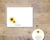 Personalized Stationery, Personalized Stationary, Personalized Note Cards, Stationery Set, Thank You Cards, Sunflowers - Blowing Sunflowers