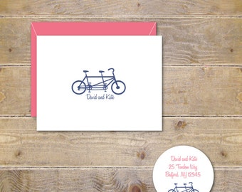 Wedding Thank You Cards, Tandem Bike Cards, Tandem Bike Thank You Cards, Bridal Shower Thank You Cards, Thank You Notes, Bicycle Cards