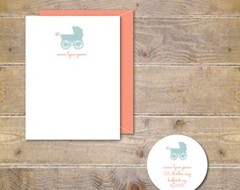 Baby Shower Thank You Cards, Baby Girl, Baby Boy, Pram, Stoller, Baby Thank You Cards, Baby Shower, Carriage - Baby's Stroller