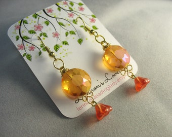 sunburst faceted glass earrings with wire wrapped flourish