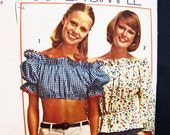 Vintage Pattern 1970s Crop Top Pattern Misses size 12 14 Medium Womens Off Shoulder Top, Bare Midriff Top Easy to Sew