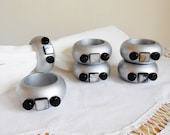 Table Decor...Dinner Table Accessories Napkin Rings...Silver...Modern Design...Hand made
