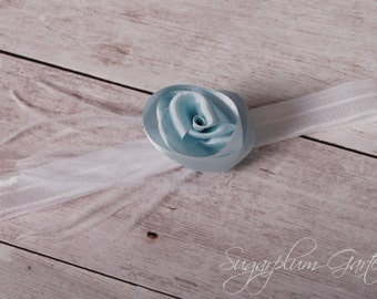 Wedding Garter in Pale Blue Silk & White with Ostrich Feathers