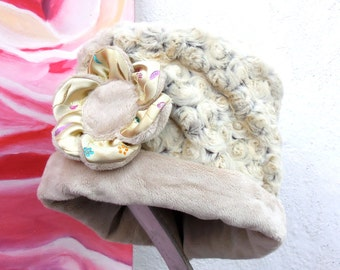 SOFT COZY WARM Reversible Light Creme Color Fabric Winter Hat with flower pin.....
