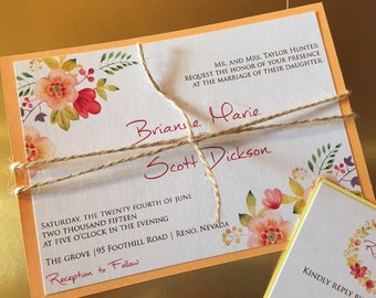 DEPOSIT: Floral Watercolor wedding Invitation Suite