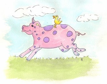 Child art, Pig with duck art, whimsical pig, farm animal art, running pig, pig running, pink and purple, Nursery art, 8 x 10, P149