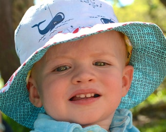 Bucket sun hat for babies, reversible with nautical red white and blue and cars print, beach hat