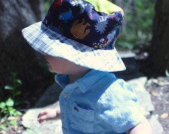 Bucket sun hat for boys, uv sun hat, beach wear, Hawaiian tiki print, monsters and plaid