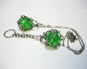 Chainmaille d20 (Light Green) Stainless Steel Key Chain OR Pendant