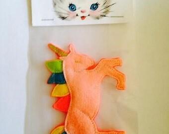 Rainbow Felt Pink Unicorn Pin/Brooch