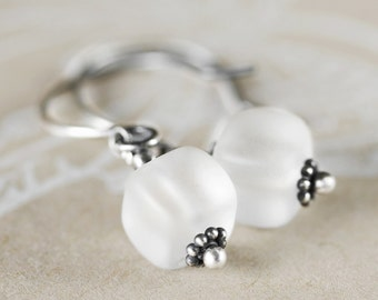 Little Ice Cube Earrings - White Frosted Glass and Sterling Silver Oxidized Dangle Earrings