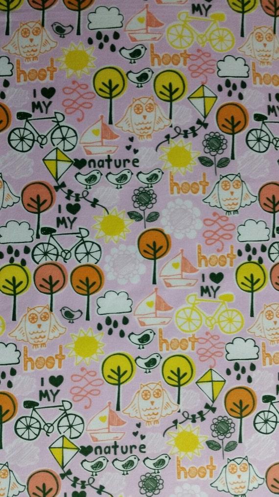 Cotton flannel fabric i heart nature nursery decor fabric for Children s home decor fabric