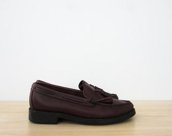 vintage 90s tassel loafers, oxblood leather bass weejuns, size 6