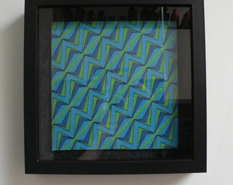 vintage 1960s framed psychedelic modernist original book cover art / mid century book cover design / geometric abstract wall art