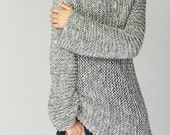 Hand knit sweater - Eco cotton long sweater in light grey