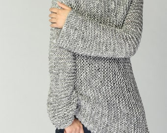 Hand knit woman sweater Eco cotton long sweater light grey