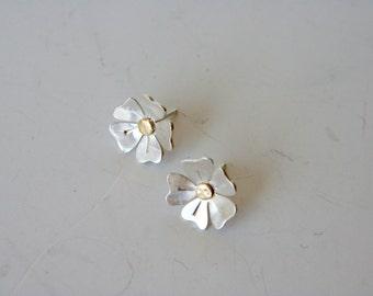 Daisy Earrings, Silver Earrings, Flower Earrings, Brass and Silver, Silver and Gold, Tiny Flowers, Tiny Earrings