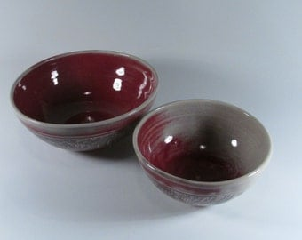 Ceramic Soup Bowls, Copper Red, Stoneware Cereal Bowls, Noodle Bowls, Wheel Thrown Bowls, Ice Cream Bowls, Ready to Ship, BS1-2
