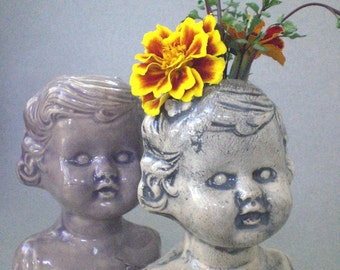 Baby Face Vase - Black and white baby face vase in earthenware