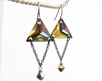 As Seen on TV - The Vampire Diaries  - Triangle earrings - Swarovski Crystals - TVD - gold earrings