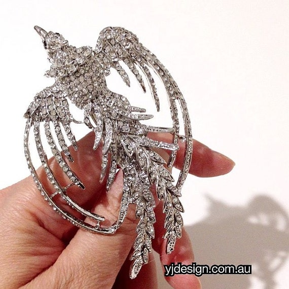 Phoenix Bridal Hair Clip, Bridal Hair Jewelry, Statement Headpiece, Wedding Barrette, Swarovski Bridal Headpiece, Crystal Hair Clip, PHOENIX