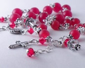 Custom Order Sterling Silver and Semi Precious Red Jade Rosary Bracelets