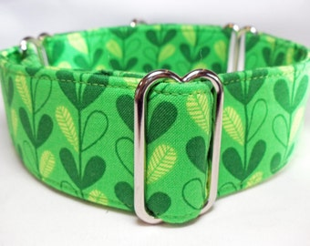 Leafy Vines Green Greyhound, Whippet, Galgo, Saluki, Dog, Pit Bull  Martingale Collar