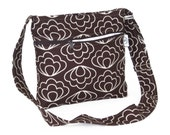Organic Hip Hobo Cross Body Purse - Brown Blossom  - Free Shipping