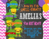 GIRLY Ninja Turtle Birthday Party Invitation -- Digital File Only
