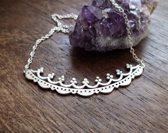 Fiorenza arch necklace - ornate sterling silver curved bar necklace