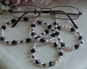 Pink Swarovski Crystal Pearls and Black Swarovski Crystals Eyeglass Chain
