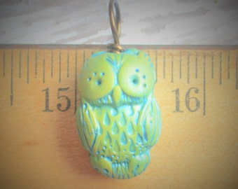 Hand Made Polymer Clay Owl Pendant Bead or Charm in Celadon Green Clay Washed in Shimmery Teal by Brooke Baker