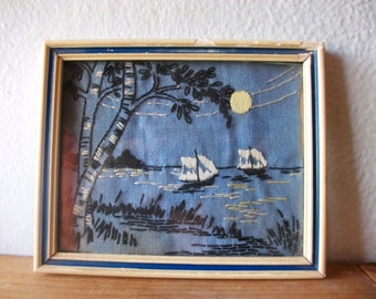 Vintage Antique Small Embroidered Picture Framed