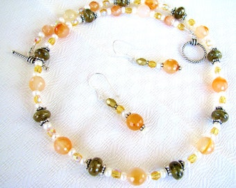 Mothers Day SALE 25% OFF, Orange Carnelian & Green Garnet Necklace Earrings Set, Pearls, Classic Sterling Silver Necklace, Ready To Ship
