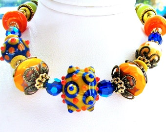 SALE 35% OFF, Fiesta Lampwork Bracelet, Orange Blue Green, Bumpy Beads, Antiqued Brass, Original Gift For Mom, Ready To Ship