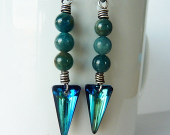 Apatite and Swarovski Bermuda Blue Spike Earrings