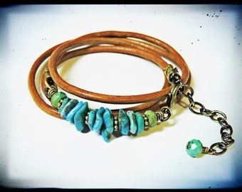 Genuine Turquoise and Greek Tabacco Leather Wrap Bracelet
